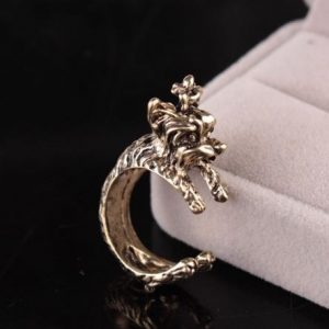 Hot 1 Pc Unisex Vintage Gothic Style Personality Exaggerated Terrier Dog Wrap Opening Finger Ring Jewelry - gold