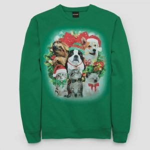 Men's Ugly Holiday Animals Pullover Sweater - Kelly Green L