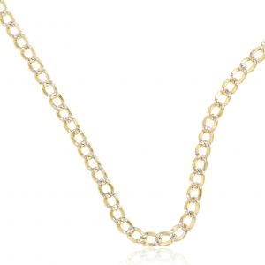 "10k Yellow Gold 3.5mm Pave Cuban Chain- 16"" 18"" 20"" 22"" and 24"" Available"