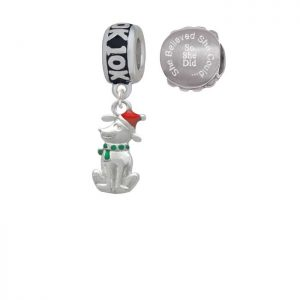 2-D Christmas Dog with Red Hat 10K Run She Believed She Could Charm Beads (Set of 2)