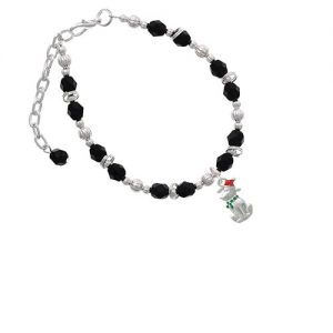 2-D Christmas Dog with Red Hat Black Beaded Bracelet