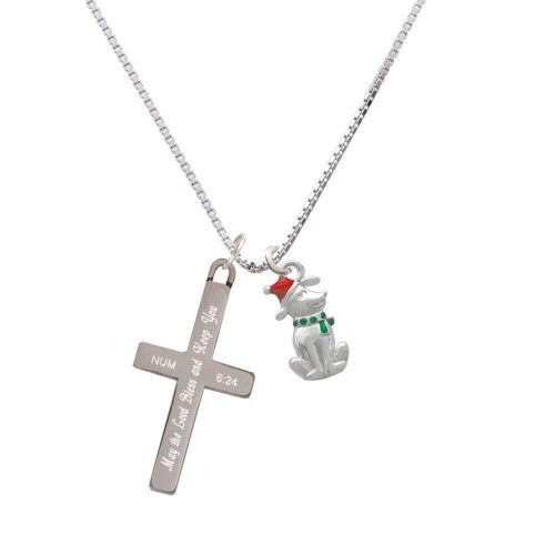 2-D Christmas Dog with Red Hat - Bless and Keep You - Cross Necklace