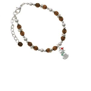 2-D Christmas Dog with Red Hat Brown Beaded Bracelet