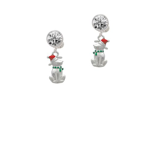 2-D Christmas Dog with Red Hat Crystal Clip On Earrings