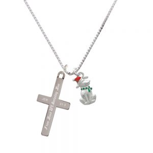 2-D Christmas Dog with Red Hat - Everlasting Love - Cross Necklace