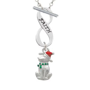 2-D Christmas Dog with Red Hat Faith Infinity Toggle Necklace