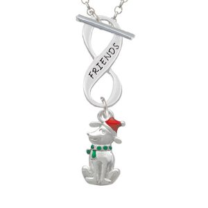 2-D Christmas Dog with Red Hat Friends Infinity Toggle Necklace