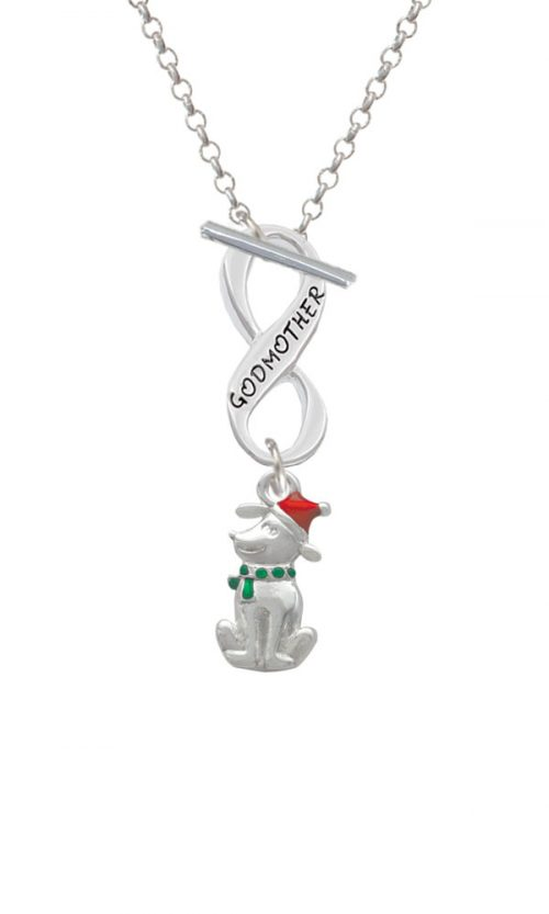 2-D Christmas Dog with Red Hat Godmother Infinity Toggle Necklace