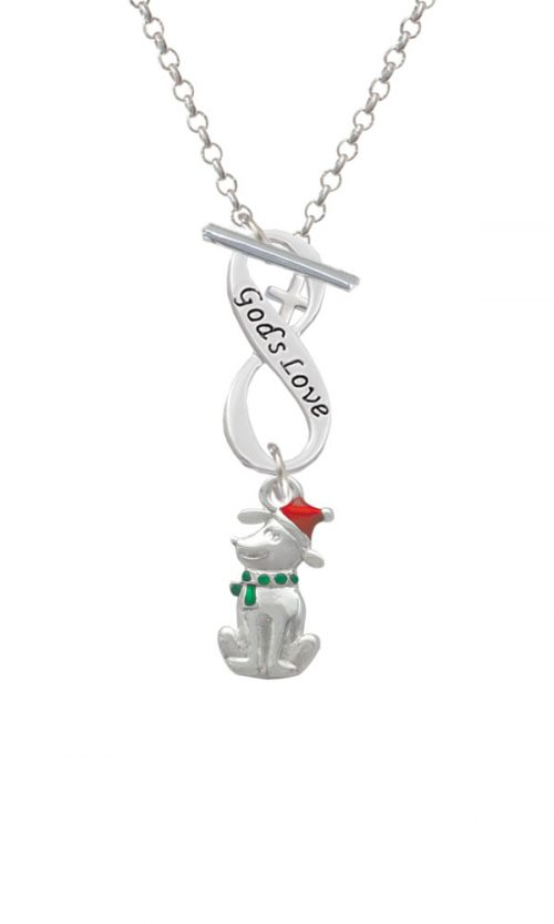 2-D Christmas Dog with Red Hat God's Love Infinity Toggle Necklace