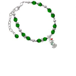 2-D Christmas Dog with Red Hat Green Beaded Bracelet