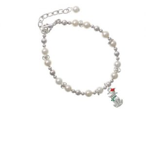 2-D Christmas Dog with Red Hat Imitation Pearl Beaded Bracelet
