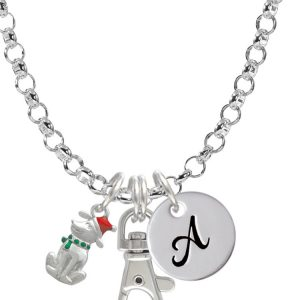 2-D Christmas Dog with Red Hat Initial Badge Clip Necklace