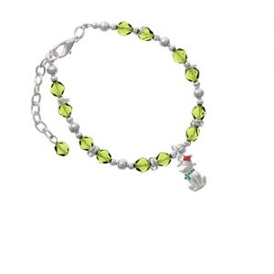 2-D Christmas Dog with Red Hat Lime Green Beaded Bracelet