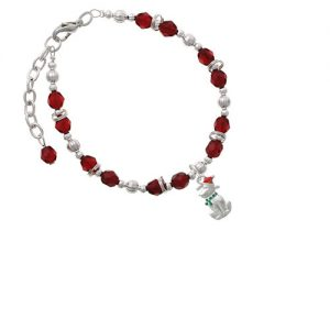 2-D Christmas Dog with Red Hat Maroon Beaded Bracelet