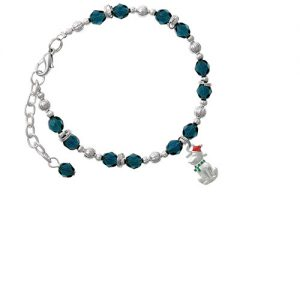 2-D Christmas Dog with Red Hat Navy Blue Beaded Bracelet