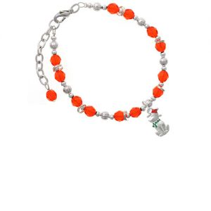 2-D Christmas Dog with Red Hat Orange Beaded Bracelet