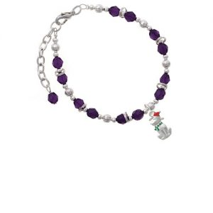 2-D Christmas Dog with Red Hat Purple Beaded Bracelet
