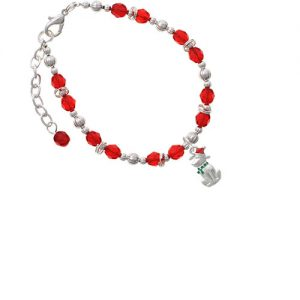 2-D Christmas Dog with Red Hat Red Beaded Bracelet