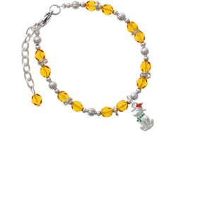 2-D Christmas Dog with Red Hat Yellow Beaded Bracelet