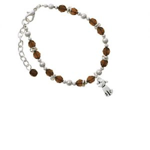 2-D Dog Brown Beaded Bracelet