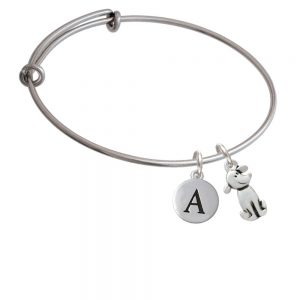 2-D Dog Initial Bangle Charm Bracelet