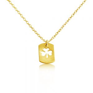 3 Leaf Clover Shamrock Irish St. Patrick's Lucky Dog Tag Charm Pendant Necklace #14K Gold Plated over 925 Sterling Silver #Azaggi N0694G - 12'' child