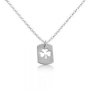 3 Leaf Clover Shamrock Symbol of Ireland Irish St. Patrick's Lucky Dog Tag Charm Pendant Necklace #925 Sterling Silver #Azaggi N0694S - 12'' child