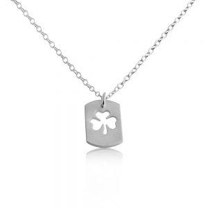 3 Leaf Clover Shamrock Symbol of Ireland Irish St. Patrick's Lucky Dog Tag Charm Pendant Necklace #925 Sterling Silver #Azaggi N0694S - 12'' child