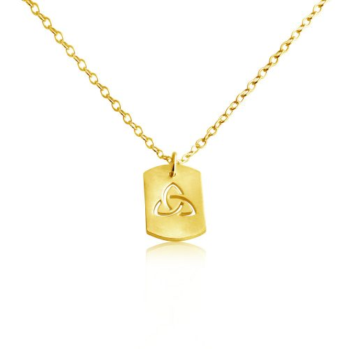 3-Sided Infinity Spiritual Dog Tag Charm Pendant Necklace #14K Gold Plated over 925 Sterling Silver #Azaggi N0697G - 12'' child