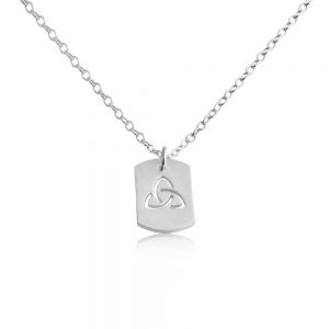 3-Sided Infinity Spiritual Dog Tag Charm Pendant Necklace #925 Sterling Silver #Azaggi N0697S - 12'' child