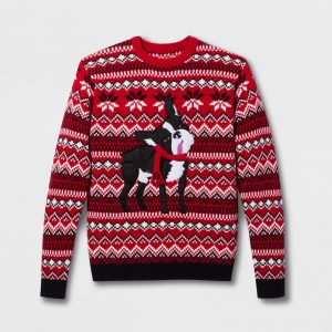 33 Degrees Men's Ugly Holiday Cute Pug Long Sleeve Pullover Sweater - Red L