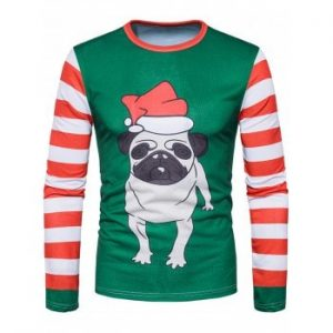 3D Dog Stripe Print Long Sleeve T-shirt