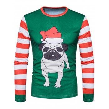3D Dog Stripe Print Long Sleeve T-shirt