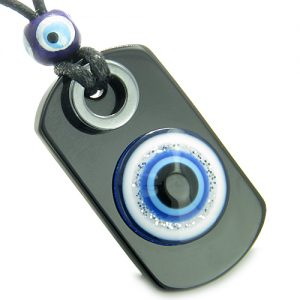 Amulet Evil Eye Reflection and Protection Powers Magic Spiritual Dog Tag Black Onyx Hematite Gemstones Pendant Necklace