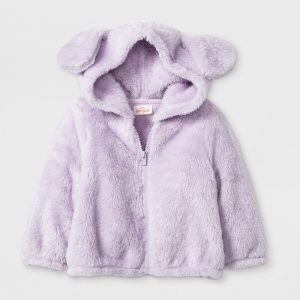 Baby Girls' Front Zip Fleece Puppy Hoodie - Cat & Jack Purple 0-3M