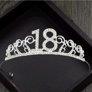 Bake cake decoration crown alloy diamond tiara 18 - silver