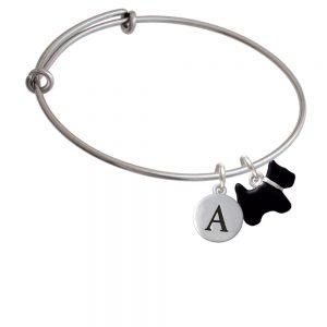 Black Scottie Dog Initial Bangle Charm Bracelet