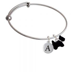 Black Scottie Dog Initial Bangle Charm Bracelet