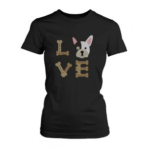 Bulldog Love Women's Black Shirts Gifts for Puppy Lover Cute Tees for Dog Owners