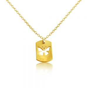 Butterfly Flying Insect Bug Symbol of Transformation Dog Tag Charm Pendant Necklace #14K Gold Plated over 925 Sterling Silver #Azaggi N0702G - 12'' child