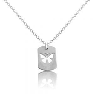 Butterfly Flying Insect Bug Symbol of Transformation Dog Tag Charm Pendant Necklace #925 Sterling Silver #Azaggi N0702S - 12'' child