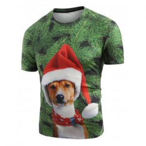 Christmas Dog Pattern Short Sleeves T-shirt