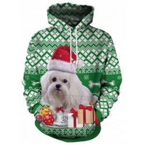 Christmas Dog and Gift Print Pullover Hoodie