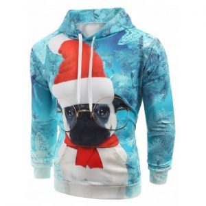 Christmas Puppy Print Kanga Pocket Hoodie