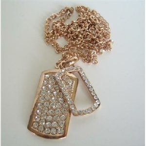 Copper Double Dog Tag Hip Hop Necklace Ice Shimmering w/ CZ 28 Inches