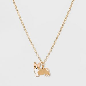 Corgi Dog Charm Necklace - Wild Fable Gold