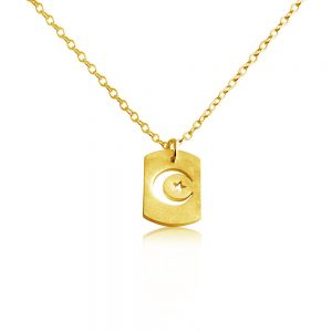 Crescent Moon & Star Outline Celestial Symbol Muslim Dog Tag Charm Pendant Necklace #14K Gold Plated over 925 Sterling Silver #Azaggi N0696G - 12'' child