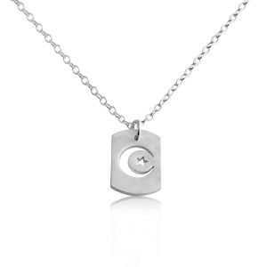 Crescent Moon and Star Outline Celestial Symbols Night Sky Islamic Muslim Dog Tag Charm Pendant Necklace #925 Sterling Silver #Azaggi N0696S - 12'' child