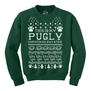 Crew Neck Sweatshirt Pugly Christmas Sweater Funny Pet Pug Dog Shirt