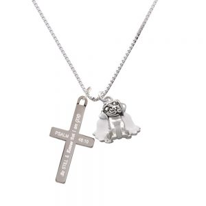 Dog Angel - Be Still and Know - Cross Necklace